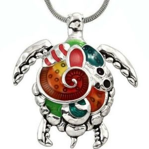 Large lot of 4 Sea Turtle Tortoise Necklace silver